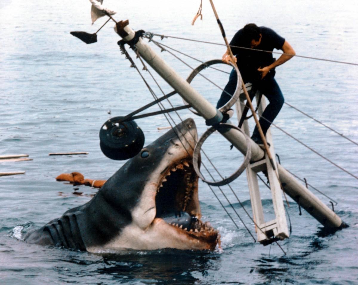 Ο αρχηγός της αστυνομίας ισορροπεί στο κατάρτι, πάνω από τα ανοιχτά σαγόνια του καρχαρία.